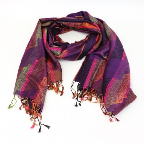 Polyester Pattern Scarf - Purple by Giftcraft