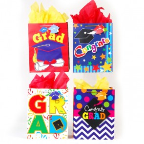 FLOMO Medium Awesome Grad Graduation Gift Bags - Assorted