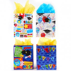FLOMO Classic Tall Well Done Grad! Graduation Gift Bags - Assorted