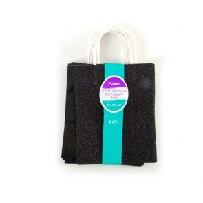 8 Pack Solid Black Glitter Gift Bags