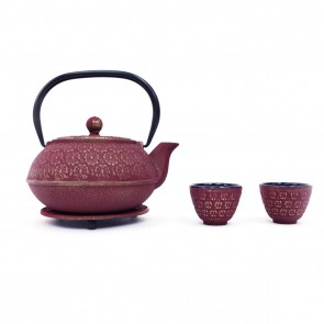 Scarlet Blossoms Cast Iron Tea Set