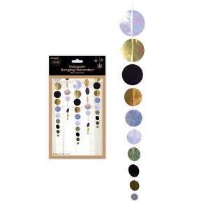 Hanging Hologram Black and Gold Circle Christmas New Year's Eve Decorations by Holiday Essentials