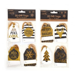Black and Gold Christmas Hot Stamp Gift Tags by Holiday Essentials
