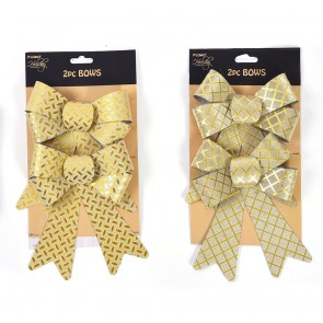 Embossed Gold Metallic Christmas Mini Plastic Bows by Holiday Essentials