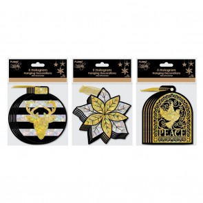 Black and Gold Christmas Hologram Ornaments by Holiday Essentials