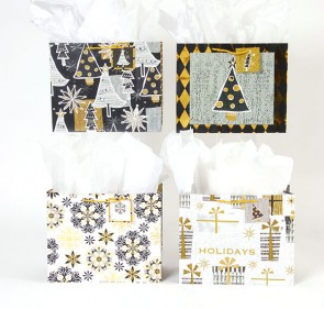 Large Classy Checkered Christmas Gift Bags