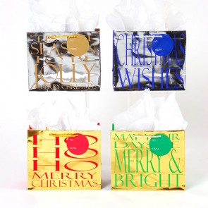 Horizontal Medium Foil Fancy Gift Bags - Assorted