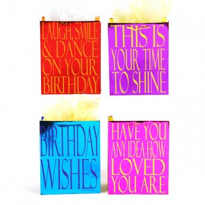 Large Birthday Wisdom Quote Gift Bags with Hot Color Stamping