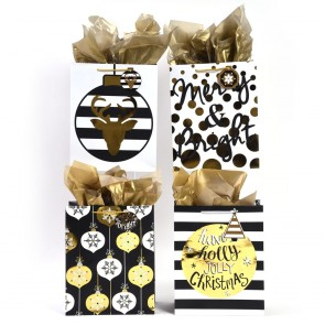 Extra Large Black Gold Christmas Hot Stamping Gift Bags
