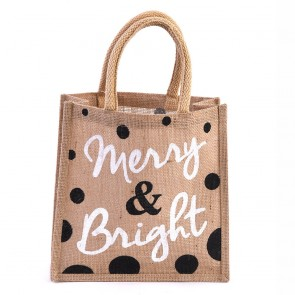 "Jute Burlap ""Merry & Bright"" Christmas Tote Bag by Holiday Essentials"