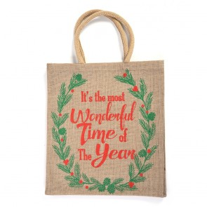 "Christmas ""It's The Most Wonderful Time Of The Year"" Burlap Jute Bag by Holiday Essentials"