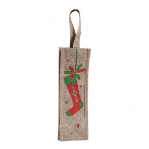 Jute Burlap Christmas Stocking Bottle Bag by Holiday Essentials
