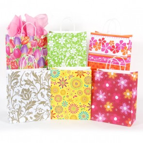 Floral Kraft Bags - 6 Designs Assorted