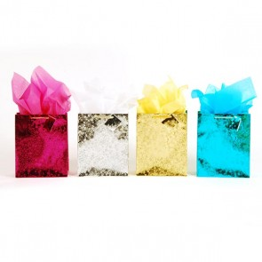 Medium Embossed Metallic Kraft Bags - Assorted