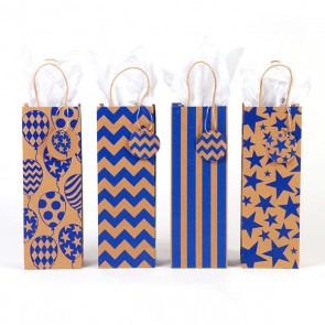 Royal Blue Kraft Bottle Bags - Assorted
