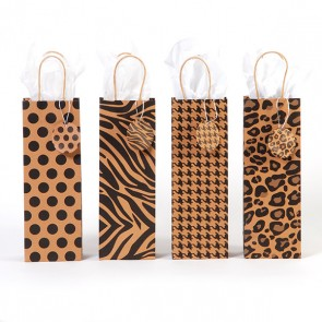 Bottle Black Pattern Kraft Bottle Bags - Assorted