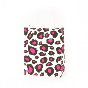 Narrow Medium White Leopard Kraft Bag