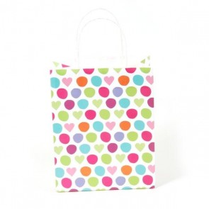 Euro Medium Polka Hearts Kraft Bag