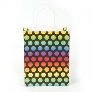 Euro Medium Rainbow Polka Dot Kraft Bag