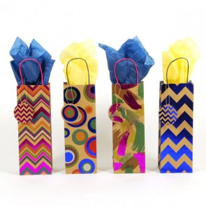 Hot Stamped Kraft Bottle Bags - Assorted
