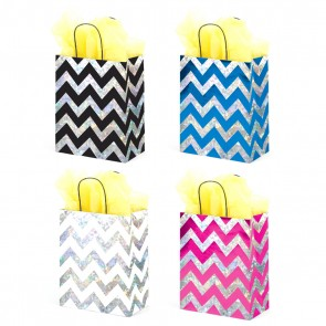 Hologram Chevron Kraft Bag - Assorted Designs