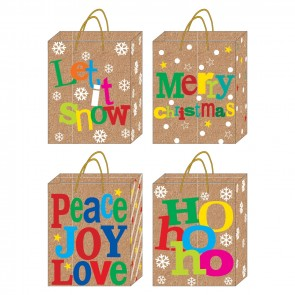 """Large """"Christmas Typographic"""" Kraft Gift Bags by FLOMO"""