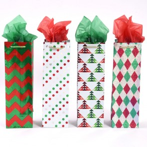 """Christmas """"Geometric Holiday"""" Bottle Gift Bags by FLOMO"""