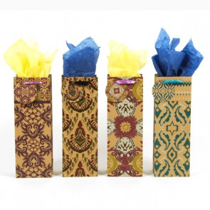 Damask Kraft Bottle Bag with Satin Ribbon - Assorted