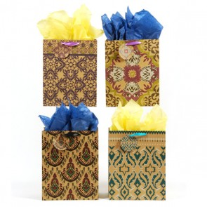 Large Damask Kraft Bag with Satin Ribbon - Assorted
