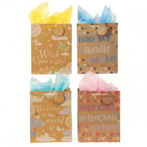 Large Precious Baby Kraft Bags - Assorted