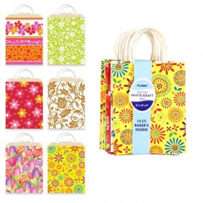 13 Pack Floral Kraft Bag Bundle - Assorted