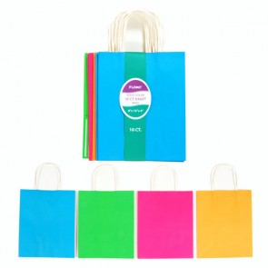 10 Pack Neon Color Kraft Bag Bundle - Assorted
