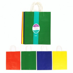 6 Pack Primary Colors Kraft Bag Bundle - Assorted