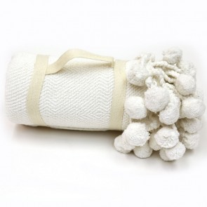 Karma Living Pom Pom Throw - White