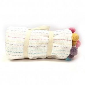 Pom Pom Throw -  Rainbow by Karma Living