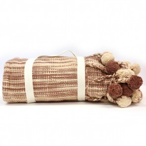 Pom Pom Throw - Brown by Karma Living