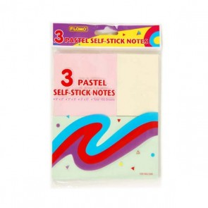 Pastel Self-Stick Notes, 3 Assorted Sizes by FLOMO