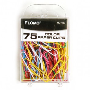 75 Plastic Coated Color Paper Clips by FLOMO