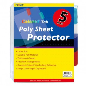 5 Pack Poly Sheet Protectors with Tabs