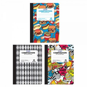 FLOMO Boy Composition Notebooks - Food, Graffiti, Plaid