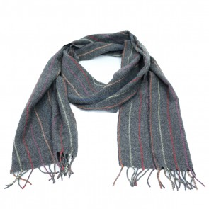 McNutt of Donegal Charcoal Rainbow Wool Scarf