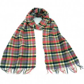 McNutt of Donegal Jade and Lipstick Checkered Wool Scarf