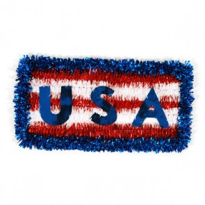 "Patriotic Tinsel Hanging Plaque 15"" x 8"""