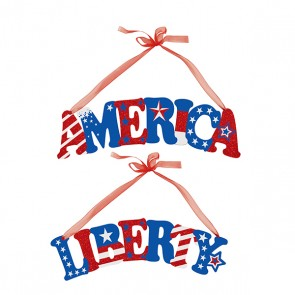 "Patriotic Hanging Plaque 11.8"" x 4"""