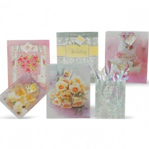 FLOMO Large Wedding Plastic Translucent Gift Bags - Assorted