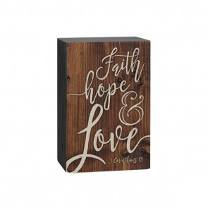 P. Graham Dunn Barnhouse Block Plaque - 'Faith Hope and Love' Room Decor