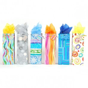 Abstract Hot Stamping Bottle Gift Bags - Assorted