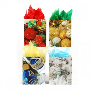 Square Large Holiday Trimmings Gift Bags - Assorted