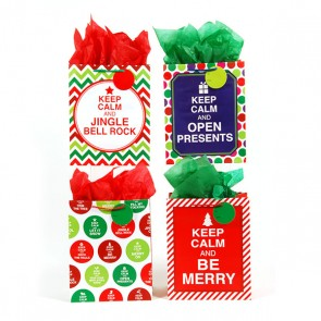 Large Keep Calm It's Christmas Gift Bags - Assorted