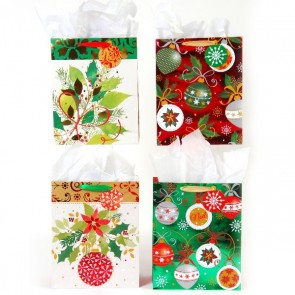 FLOMO Large 'Traditional Joy' Christmas Hot Stamp Gift Bags